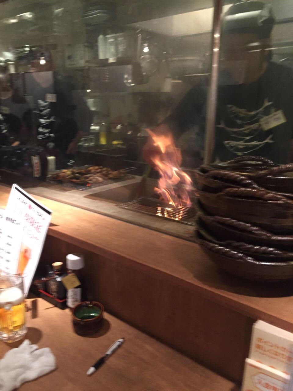 藁焼きの火